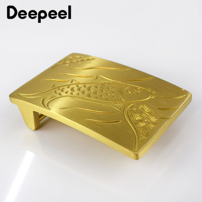 Deepeel 39mm Pure Copper Brass Men's Belt Buckle Decoration Buckle DIY LeatherCraft High-grade Jeans Accessory For 37-38mm Belt