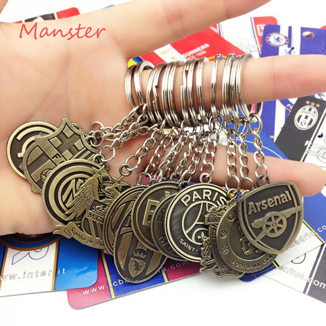 Hot Sale Antique Bronze Metal Keychain European Cup Footabll Team Logo Porte Clef Sport Keyring Gift Fans Souvenir Charms Soccer