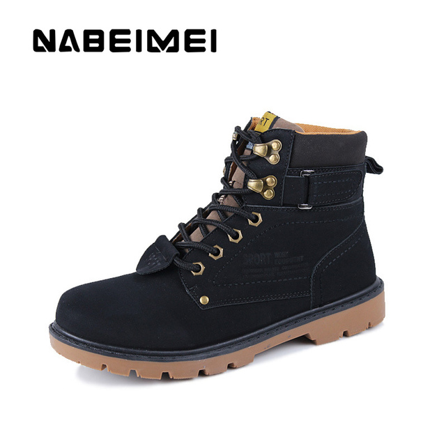 Classic rivet men's work safety ankle boots velvet shoes solid winter fashion male dress boot big size 39-46 leather boots men