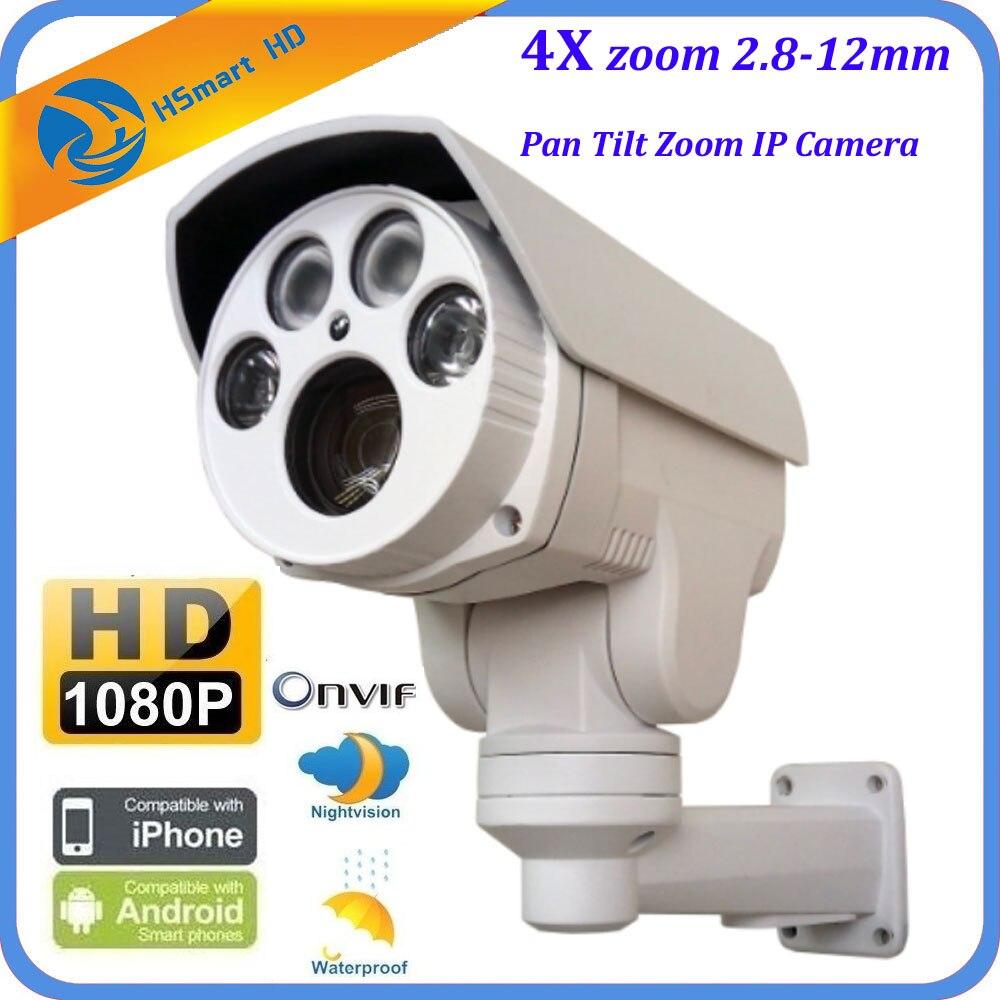 New HD 1080P 4X Auto Zoom 2 8 12mm Varifocal Lens 2 0MP PTZ Outdoor HI3516C