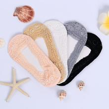 5 Pairs Socks Invisible Sock Slippers Solid Color Lace Explosion Socks Shallow Mouth Silicone Sole Non Slip Socks Thin Socks