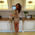 Sparkly Arabic Crystal Short Cocktail Dresses Long Sleeves Champagne Sheer Sexy Beading Crystal Party Dress Custom Made