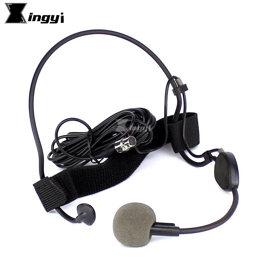 Professionnel Mini XLR 4 Broches TA4F Oreillette Serre-Tête Casque Microphone Dynamique Mic Pour SHURE WH20TQG Sans Fil Émetteur de poche