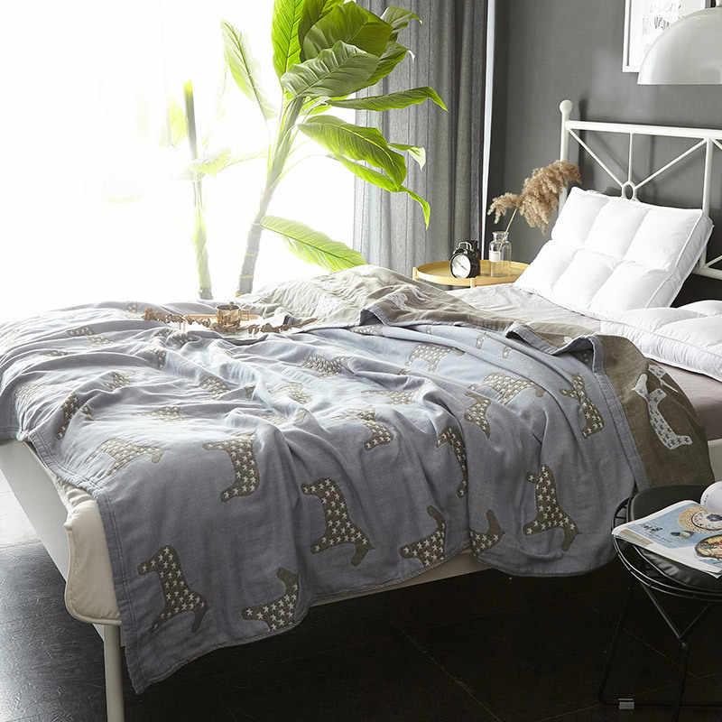 Manta de algodón lavada 100%, colchas de gasa para el hogar, edredón fino con elefante, colcha de cama color beige, 1 unidad