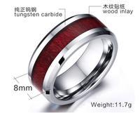 Moda Joyas США Канада Россия Бразилия Лидер продаж 8 мм древесины полосатые Вольфрам карбида обручальное кольцо американский размер 7-12