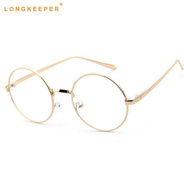 61a8611e05 Oversized Korean Round Glasses Frame Clear Lens Women Men Retro Gold  Eyeglass Optic Frame Eyewear Vintage Spectacles LongKeeper