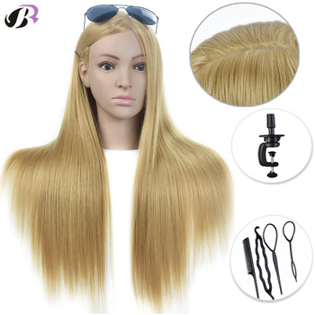 26 100% High Temperature Fiber Long Hair Hairdressing Training Head Model with Clamp Stand Practice Salon Mannequin Dummy