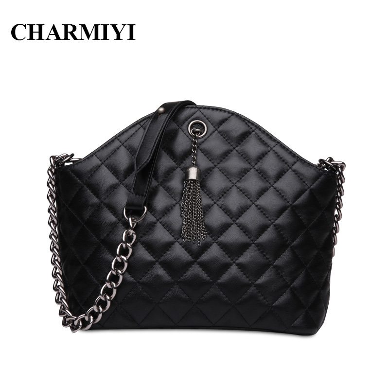 CHARMIYI Famous Brand Genuine Leather Women Messenger bags Vintage Shell Lady Shoulder bag Chain Tassels Woman Crossbody bag