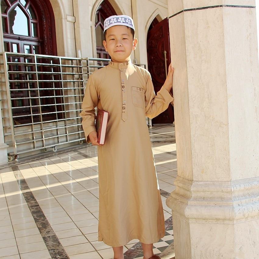 Islamic Boy Jubba Thobe Muslim Clothing  Kaftan Arab Abaya Eid Prayer Cotton Children Robes Kids Islam for Boys Clothes 80-170CM
