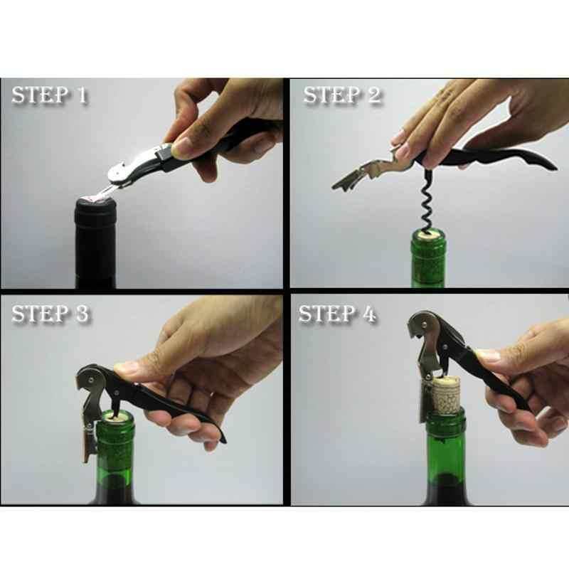 1 Professional Opener Stainless Steel Wine Screw Corkscrew Double Hinge Waiters Grape Wine Bottle Beer Cap Champagne Opener