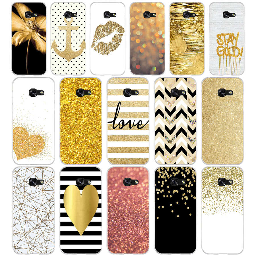 110AQ amp yellow gold glitter Soft Silicone Tpu Cover phone Case for Samsung galaxy a3 a5 2016  2017 a6 A8 plus 2018