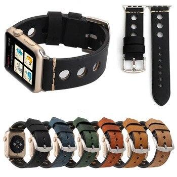 Большие круглые отверстия дышащая ремешок браслет для Apple Watch Series 3 2 1 группа 42 мм 38 мм Ретро пояса из натуральной кожи Смотреть Band >> SZ-TOP Store