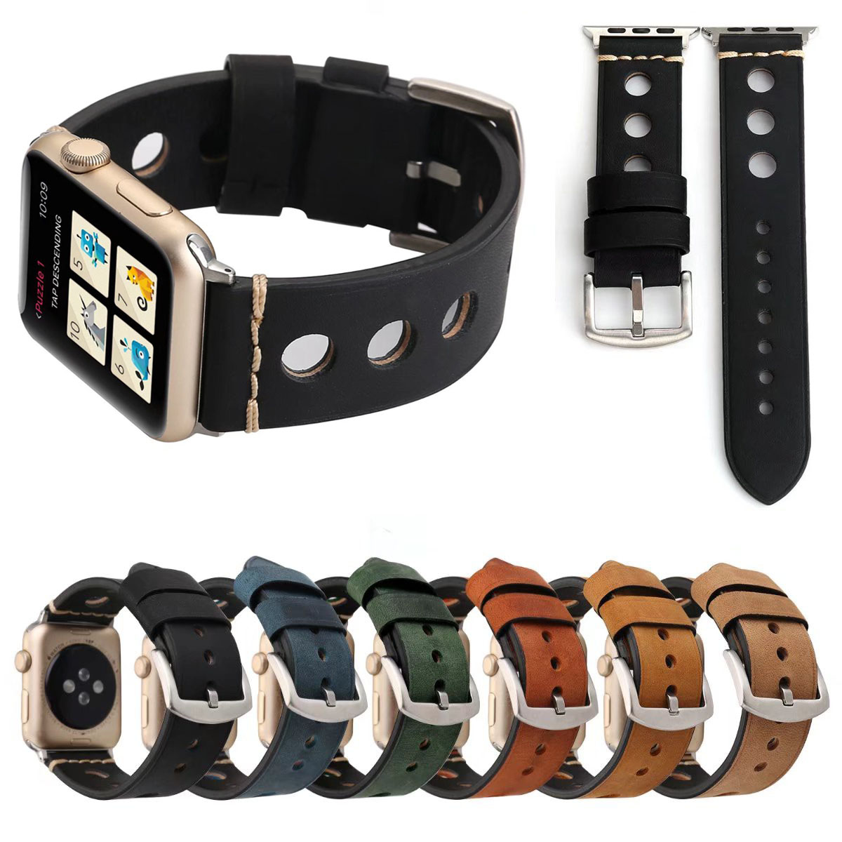 Big Round Hole Breathable Wrist Strap Bracelet for Apple Watch Series 3 2 1 Band 42mm 38mm Retro Genuine Leather Watch Band round up 1 2 3