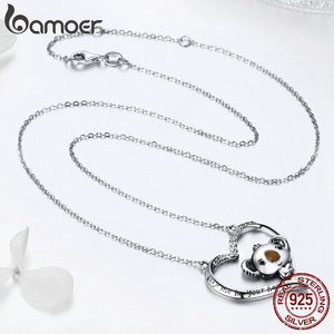Image 3 - BAMOER High Quality Real 925 Sterling Silver Lovely Koala in Heart Pendant Necklaces for Women Sterling Silver Jewelry SCN256