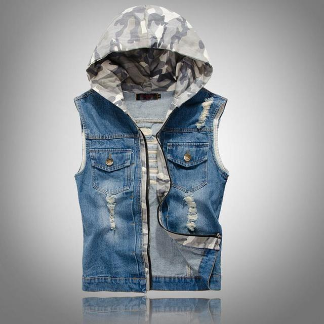 Brand New Hooded Denim Vest Men Sleeveless Jacket With Hoodie Destroyed Washed Hip Hop Camouflage Cowboy Waistcoat Cool Clothing