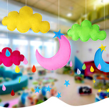 Newborn Sleeping Room Hanging Raining Clouds Moon Shape Pillow Baby Kids Bed Room Decoration Princess Photograph Toys(China)