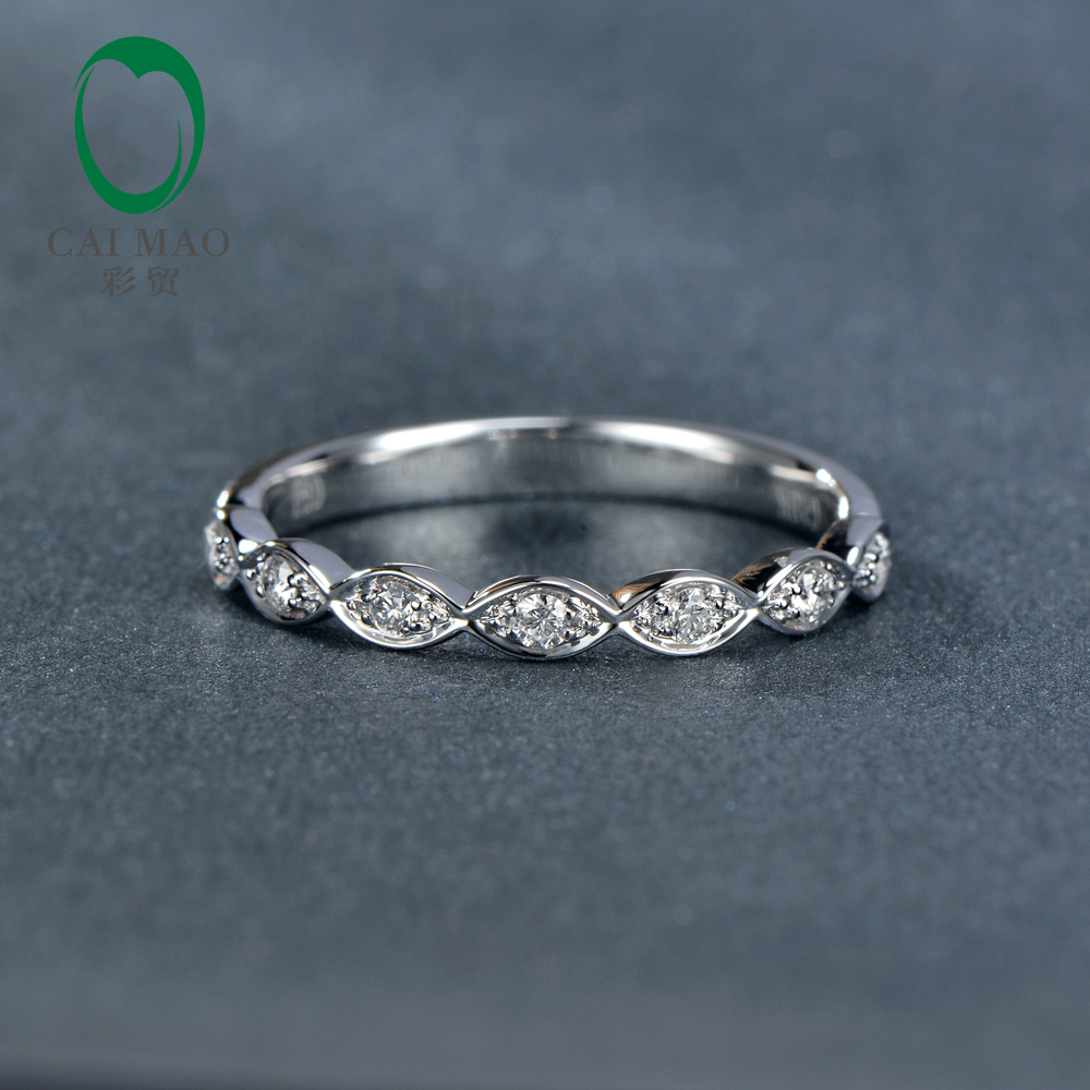 Caimao Jewelry 0.14ct Natural Diamond 14k White Gold Half Eternity Engagement Wedding Band Ring caimao 0 18ct natural round f vs diamond 14k white gold engagement wedding ring