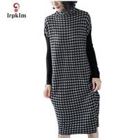 2018 Plus Size New Fashion Women Autumn Dresses Wool Knitting Sweater Winter Dresses Ladies Warm Loose Dress High Quality PQ223