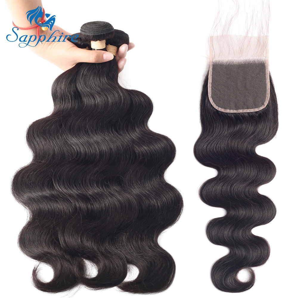 Peruvian Human Hair 3 Bundles With Lace Closure Body Wave Bundles With Lace Closure 4 4