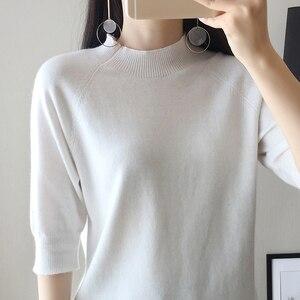 Image 3 - 2018 חדש סגנון נשים של סרוג קשמיר חצי שרוול סוודר חצי גבוהה צווארון Slim סגנון מוצק צמר צבע סוודר משלוח חינם