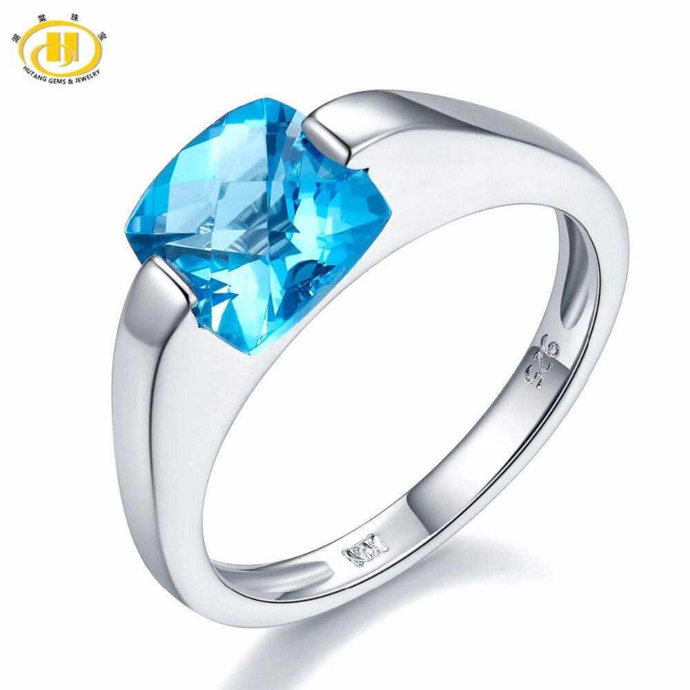 hutang gems jewelry 925 sterling silver genuine blue topaz wedding rings for women checkboard cut gemstone ring - Blue Topaz Wedding Rings