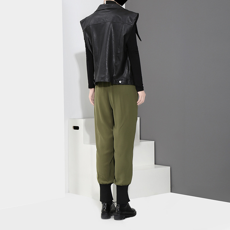 [EAM] 2018 new spring Zipper Decoration high waist solid color black green loose pants women trousers fashion all-match JC58801 10