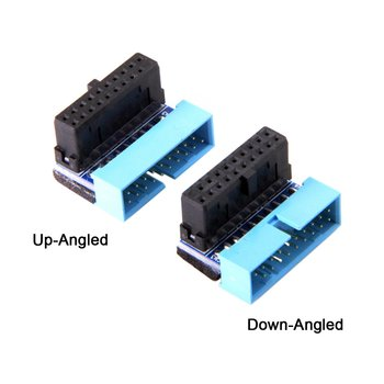 USB 3.0 20pin Extension Adapter for DELL HP Lenovo USB3 Motherboard Up Angled Down Angled 90 Degree Male to Female usb 3 0 20pin male to female extension adapter angled 90 degree for motherboard mainboard connector socket 20pin male to female