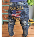2016 summer and autumn the trend of embroidery american flag letter pocket male female child jeans