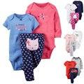 Новорожденный Набор Детская Одежда, Дети Мальчик Девочка Детская Одежда Мальчики Ropa Bebes Приданое Одежда Боди мягкого Хлопка baby set