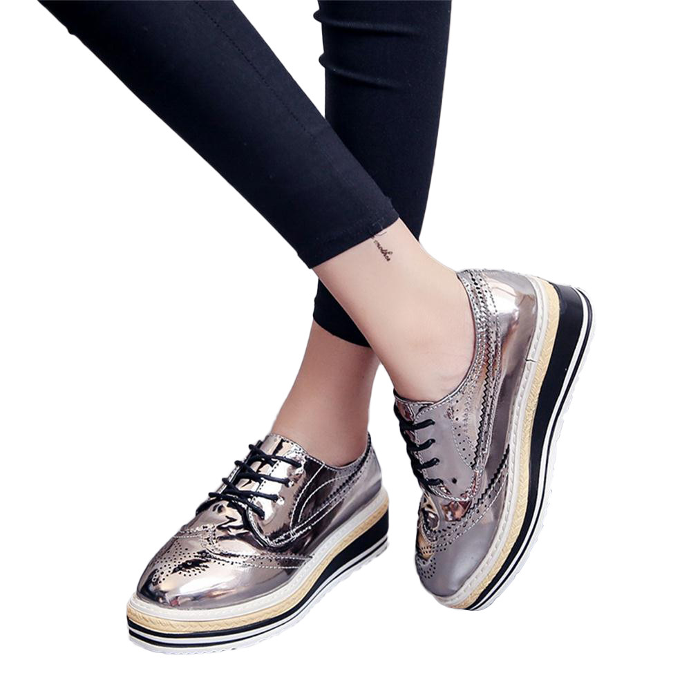 Women Outdoor Leather Casual Sports Shoes Lace-Up Thick-Soled Increase Shoes italian shoe and bag set for party in women blue #8 14