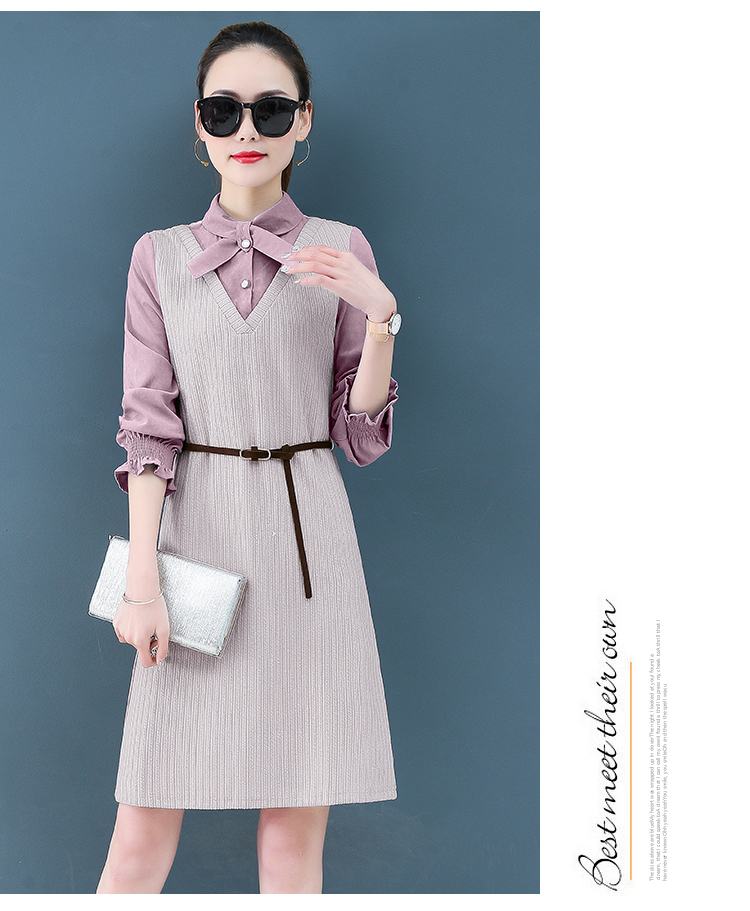 Render a dress in female new spring in the spring and autumn qiu dong fake two piece suit dress long 20