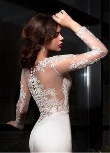 Image 5 - Elegant Satin Bateau Neckline Sheath Wedding Dresses With Lace Appliques Train Long Sleeves Bridal Dress