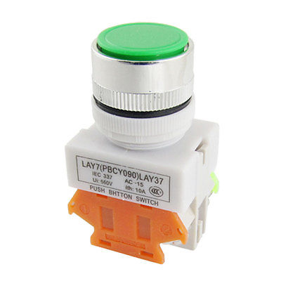 AC 660V 10A Green Sign Latching Push Button Switch Lock 22mm 7/8 1 N/O 1 N/C