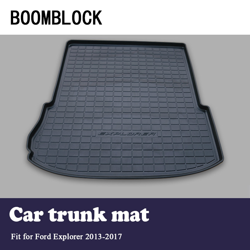 BOOMBLOCK For Ford Explorer 2013 2014 2015 2016 2017 Waterproof Anti-slip Car Trunk Mat Tray Floor Carpet Pad Protector trunk tray mat for ford focus hatch back premium waterproof anti slip car in heavy duty black