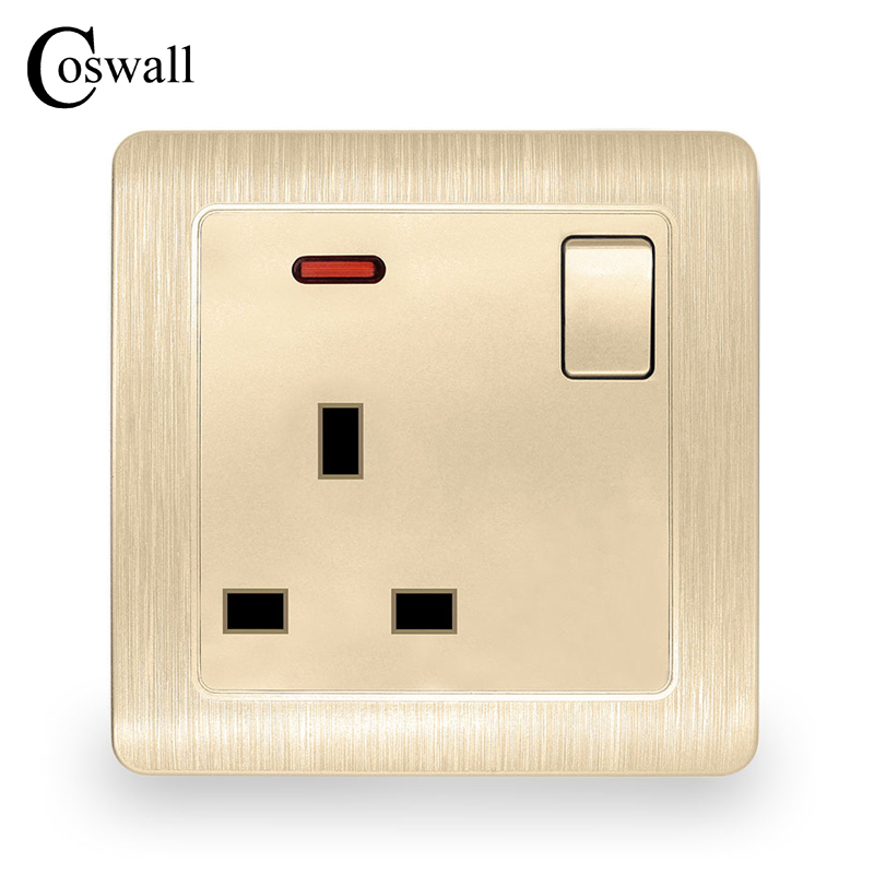 Coswall Wall Power Socket 13A UK Standard Switched Outlet With Red Neon Indicator Brushed Gold Panel uk socket wallpad crystal glass panel 110v 250v switched 13a uk british standard electrical wall socket power outlet uk with led
