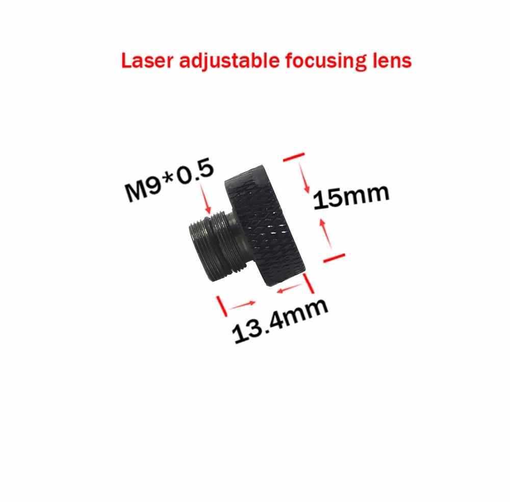 Reguliuojamas fokusavimo lęšis trijų sluoksnių dengtas stiklas M9 * 0,5, skirtas 405 nm 445 nm 450 nm 1w 2w 2,5w 3w 5,5w lazerio diodo modulio objektyvas