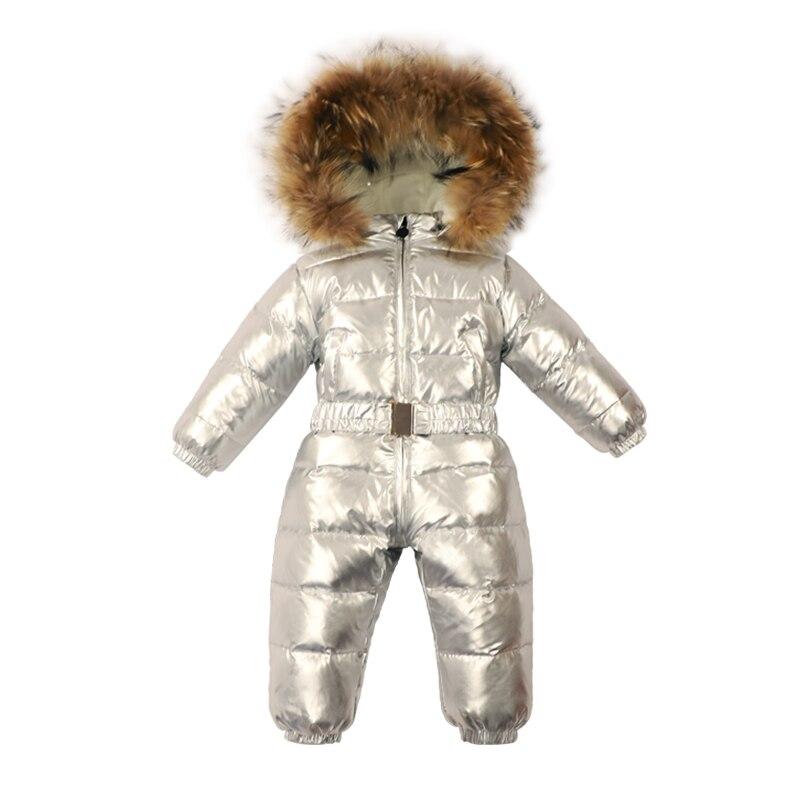 Детский комбинезон для мальчиков и девочек, зимний теплый комбинезон с меховым капюшоном, комбинезон на утином пуху для новорожденных