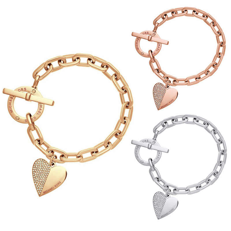 Sweet Style Heart-shaped Bracelet 2018 Fashion Female Summer Gold Heart Jewelry  For Women Gift Metal Alloy Bracelets