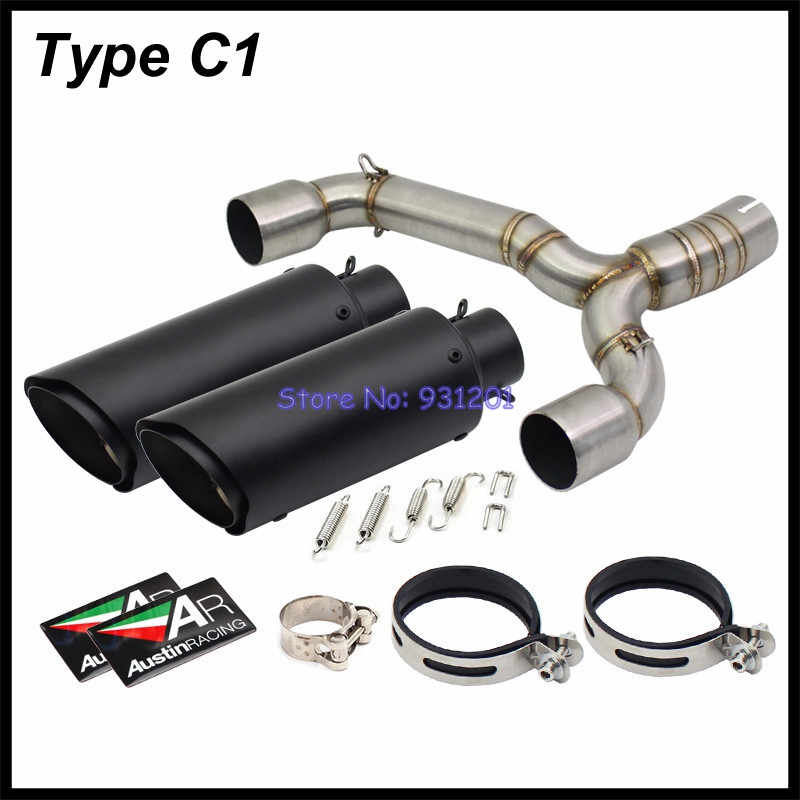 For Suzuki BK 600 BK 400 GSR 600 GSR 400 Exhaust System 2 PCS Muffler Pipe  with Link Mid Tube Pipe 600CC 400CC Motorcycle