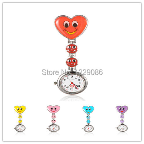 Alloy Heart Smile Nurse Face Pocket Watches with Alloy Enamel Watch Band and Iron Clips, 87mm; Watch Head: 29x7.5mm;