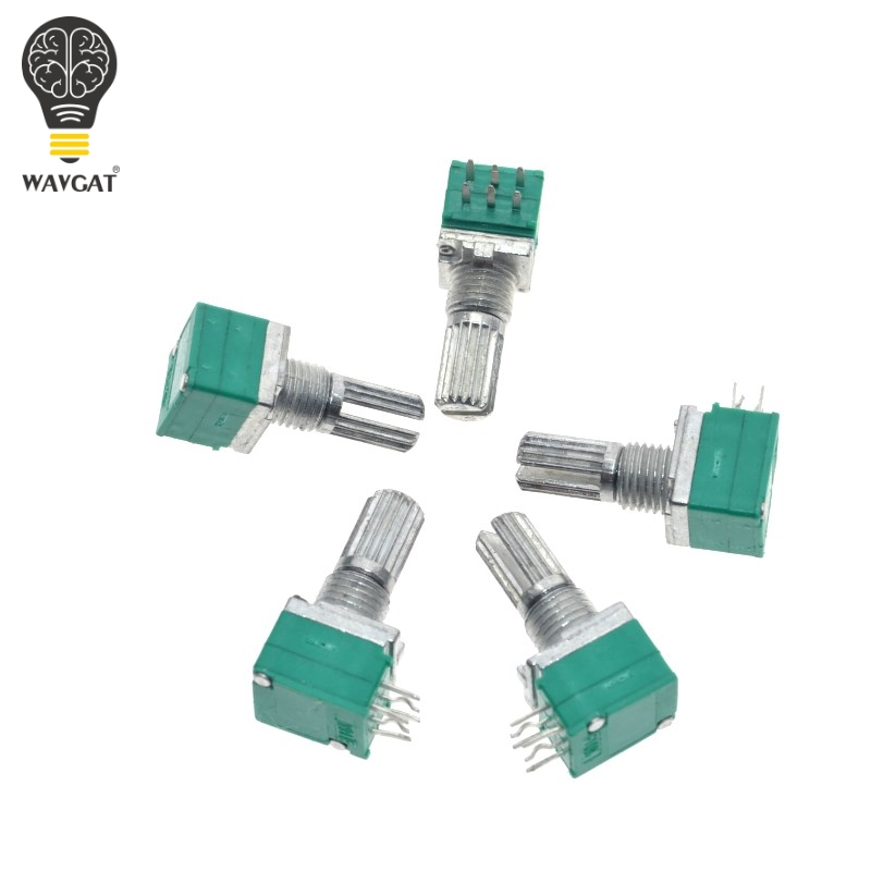 10PCS B5K B10K B50K B20K B100K RK097G Audio Amplifier Sealed Dual Potentiometer 15mm Shaft 6pins WAVGAT