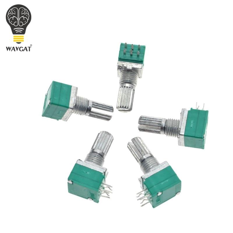 10PCS B5K B10K B50K B20K B100K RK097G Audio Amplifier Sealed Dual Potentiometer 15mm Shaft 6pins WAVGAT