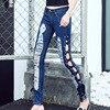 New Autumn High Waist Elastic Side Straps Bandage Jeans Hole Denim Pants Lace Up Hollow Out