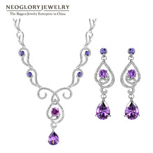 Neoglory Austrian Rhinestone AAA Zircon  Fashion Wedding Jewelry Sets 2016 New  Women Charm Brand Romantic PUR1