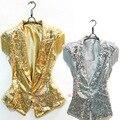 Cantora DS dança desgaste lantejoulas Veste de lantejoulas Jazz roupas de dança terno
