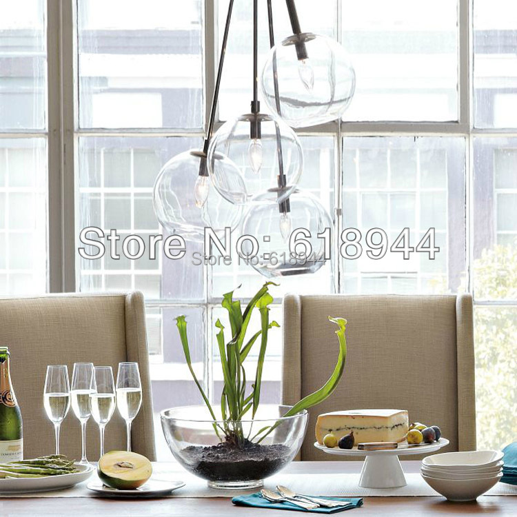 Single Head/ 4Heads Modern Brief Clear Glass Pendant Lights, Hanging Lamp Round, Dining Room Living Room Light Fixture free shipping modern glass pendant lamp 3 lights creative dining room experimental bottle hanging light fixture pl057