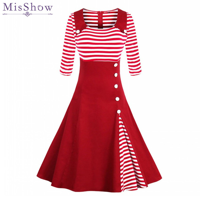 Misshow Autumn Striped Button Vintage Dress Plus Size 2017 Half