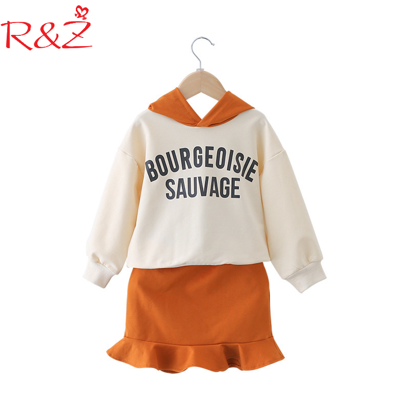R&Z Baby Girls Clothing Set 2018 Spring New Hooded Sports Cotton Letter T-shirt Sweater + Skirts 2pcs Kids Clothes Suit 3-7Y