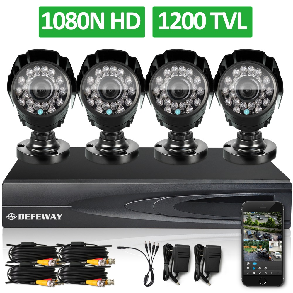 DEFEWAY 1200TVL 720P HD Outdoor Home font b Security b font Camera System 4CH 1080N HDMI