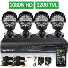 DEFEWAY 1200TVL 720 P HD Al Aire Libre Sistema de Seguridad Casero Cámara 4CH 1080N HDMI DVR Kit de Vigilancia de Vídeo CCTV Cámara AHD conjunto